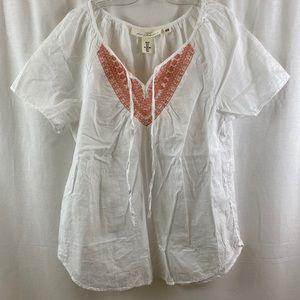 H&M Cotton Shirt w embroidery S8 EUC